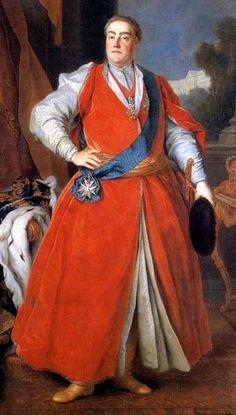 1737 Polish - His red robe is called a zupan or caftan and were worn by men in Poland for some time. August III w stroju orderowym Orderu Orła Białego - August III the Saxon in żupan by Louis de Silvestre