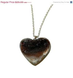 ON SALE Brown Heart Druzy Charm Necklace by CloudNineDesignz