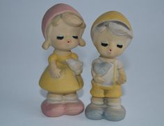 Vintage Genin Trudeau Two Figurines Boy and Girl First Kiss Love Birds Collectibles Canadian Pottery Made in Japan by Retrorrific on Etsy Of Montreal, Pottery Making, First Kiss, Engagement Gifts, Love Birds, Kitsch, Smurfs, Punch, Boy Or Girl