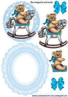 CUTE TEDDY ON ROCKING HORSE ROCKER CARD on Craftsuprint - Add To Basket!