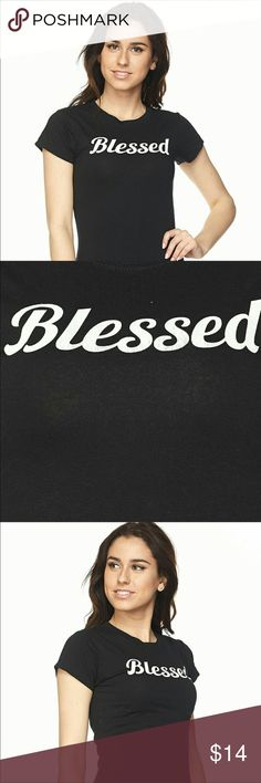 ❣️BLESSED FITTED TEE. ❤️LARGE DONATED❤️ BLESSED FITTED Graphic Tee😉.Short sleeve, Crew neck. Classic fit ••95% Cotton/5% Spandex. ••S(xs/s) M(s/m) L(m/l)        •Soft/comfy/casual                                                                                   ❌TRADES                                                                                      ❌OFFERS .....                                                                                  ❣️PRICE IS FIRM. Tops Tees - Short Sleeve