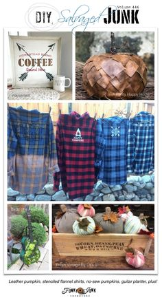 DIY Salvaged Junk Projects 446 - Leather pumpkin, stenciled flannel shirts, no-sew pumpkins, guitar planter, plus! Features and NEW projects! Diy Junk Projects, Pallet Projects, Flannel Shirts, Reduce Reuse Recycle, Autumn Crafts, Thrift Fashion, Funky Junk, Thrifting, Repurposed