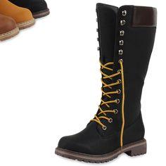 0809bcab49b84c Damen Stiefel Worker Boots Profilsohle Schnürstiefel 78242 Top