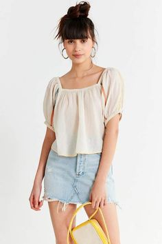 Urban Outfitters Uo Embroidered Balloon Sleeve Blouse - Black Multi S Ivory Boho Outfits, Fashion Outfits, Clothes For Sale, Blouses For Women, Urban Outfitters, How To Wear, White Blouses, Ivory, Boho Clothing