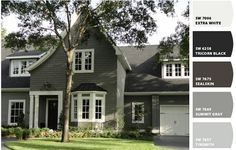 Exterior Paint Colors - You want a fresh new look for exterior of your home? Get inspired for your next exterior painting project with our color gallery. All About Best Home Exterior Paint Color Ideas Exterior Gris, Exterior Gray Paint, House Paint Exterior, Exterior House Colors, Gray Siding, Siding Colors, Black Exterior, Vinyl Siding, Exterior Paint Design Ideas