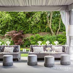 Silver Grey #loungearea inside #tentwedding | Love this #modernwedding style