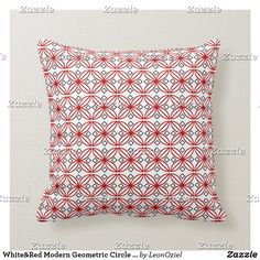 Shop Red White Modern Geometric Circle Pattern Throw Pillow created by LeonOziel. Custom Pillows, Decorative Throw Pillows, Geometric Circle, Circle Pattern, White Pillows, White Shop, Repeating Patterns, Your Design, Red And White
