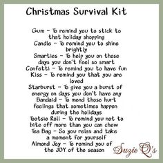 Christmas Survival Kit includes Topper and Card by SuzieQsCrafts Survival Kit Gifts, Survival Supplies, Survival Food, Survival Shelter, Survival Prepping, Christmas Holidays, Christmas Crafts, Christmas Ideas, Christmas Verses