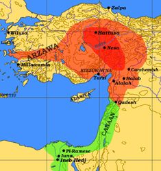The maximal extent of the Hittite Empire ca. 1300 BC is shown in orange, the Egyptian sphere of influence in green.  The approximate extent of the Hittite Old Kingdom under Hantili I (ca. 1590 BC) is shown in red.