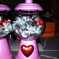 Mini kiss jars, teacher valentines gifts  - I have red gumball machines - could personalize and fill with hugs & kisses