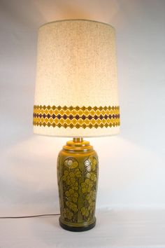 LARGE Mid Century Modern Ceramic Carved Flower Lamp with Matching Shade by OffCenterModern on Etsy