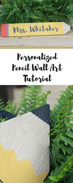 Personalized Pencil Wall Art Tutorial for an easy teacher or educator appreciation gift. Christian Teacher Gifts, Teacher Name Signs, Back To School Crafts, School Stuff, Personalized Pencils, Teacher Appreciation Week, Diy Holz, Vinyl Crafts, School