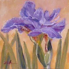 Purple Iris Flower, oil painting