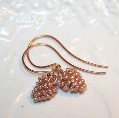 Pine Cone Earrings Rose Gold Minimalist Earrings by AngelPearls