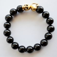 $18.99 Onxy Gold Skull Stretch Bracelet