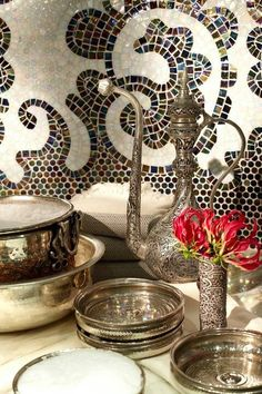 Inside a Turkish Hammam Ritual room at the Trump SoHo... Another way to do a Great backsplash or wall in the powder room