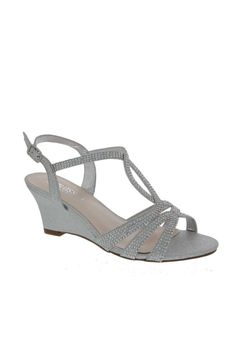 c4048e92c1 Sparkly, crystal-embellished straps make these low-heel wedges an  occasion-worthy pair. By De Blossom Collection Synthetic wedge Adjustable  buckle Imported