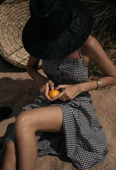 Summer In Gingham Backless Dress with oranges visual fashion editorial tanned skin summer holiday