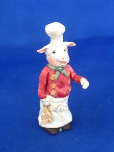 Karen Markland, OGMA fellow - Pig Chef Figurine, 1998 Small Figurines, Miniature Figurines, Beatrix Potter, Miniature Furniture, Dollhouse Miniatures, Artisan, Nursery, Hand Painted, Christmas Ornaments