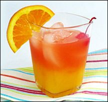 Upside Down Tequila Sunrise - Hungry Girl  3/4 cup Trop50 orange juice beverage  1 shot (1.5 oz.) tequila  1 tsp. sugar-free calorie-free raspberry syrup (like the kind by Torani)  4 - 5 ice cubes  PER SERVING (1 glass, entire recipe): 134 calories, 0g fat, 10mg sodium, 10g carbs, 0g fiber, 7.5g sugars, 0g protein -- PointsPlus® value 5*