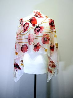Neck scarf Firebird and Red Poppies  boho silk scarves hand