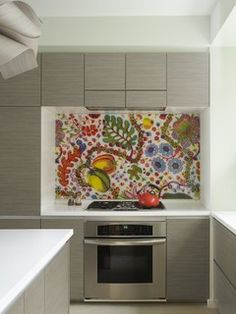 Bohemian Apartment Kitchen with laminated Fabric Backsplash - eclectic - kitchen - new york - by Incorporated