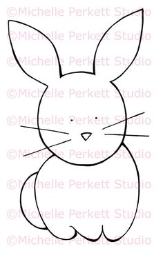 Digital Stamp Image Easter Bunny Rabbit Cute Cardmaking Scrapbooking