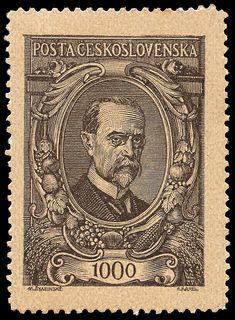 Portrait of TOMÁŠ GARRIGUE MASARYK Stamp design by M.Svabinsky (Max Švabinský) and engraved by M.Karel (Eduard Karel, engraver of many Czechoslovakian stamps). Country: Czechoslovakia Year: 1920
