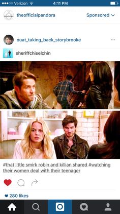 OMG!! I Totally Didn't Realize Robin & Killian Smirking at Each Other!! That's So Funny & Cleaver!! #CaptainSwan & #OutlawQueen