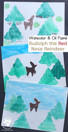 Rudolph The Red Nose Watercolor & Oil Pastel Painting Oil Pastel Paintings, Easy Paintings, Christmas Activities, Christmas Projects, Painting Activities, Rudolph The Red, Red Nosed Reindeer, Arts And Crafts, Fine Motor