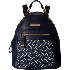 Tommy Hilfiger Claudia Dome Backpack (Navy/White) Backpack Bags ($40) ❤ liked on Polyvore featuring bags, backpacks, blue, blue bag, white backpack, tommy hilfiger, strap backpack and tommy hilfiger bags