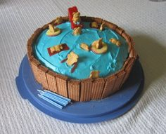 How to have a Great Splash Party Birthday Party-pool cake and sun visor craft