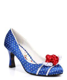 I LOVE IT! I LOVE IT! LOVE IT! LOVE IT!  I LOVE IT! I LOVE IT! LOVE IT! LOVE IT!  I LOVE IT! I LOVE IT! LOVE IT! LOVE IT!   Royal Blue & White Satin Darlene Floral Pump by Bettie Page #zulily #zulilyfinds