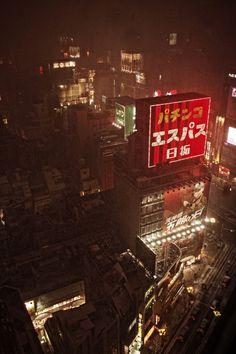 Snow. city at night - minus japanese signs :P