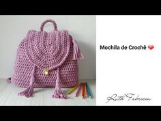 Crochet Bag Tutorials, Crochet Handbags, Diy Gifts, Drawstring Backpack, Fashion Backpack, Purses And Bags, Crochet Hats, Pouch, Knitting