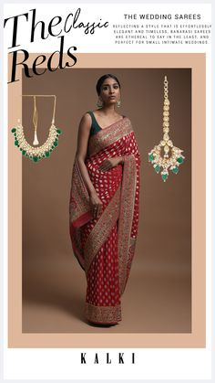 Scarlet red banarasi saree in georgette with golden and silver weaved buttis. Border and pallu adorned with weaved floral motifs along with gotta patches, zardozi, sequins, cut dana and green thread work. Teamed with a matching zari weaved unstitched blouse in georgette. The length of the blouse is 0.76 meters. Small Intimate Wedding, Intimate Weddings, Banarasi Sarees, Thread Work, Red Fabric, Saree Blouse Designs, Saree Wedding, Indian Wear, Scarlet