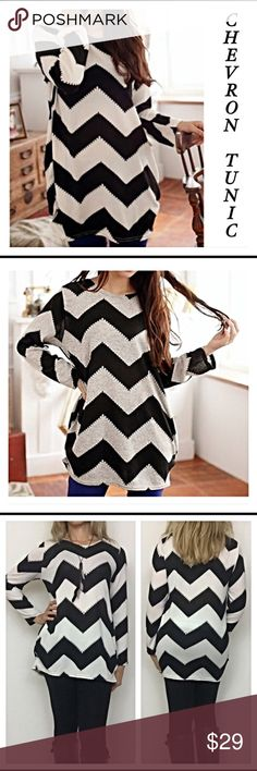"""Chevron Tunic in black & ivory medium Adorable black & ivory Chevron striped Tunic. Super soft cotton blend & slight gathering at hips. Long enough for leggings & looks great with jeans. New from maker without tags❤️  Medium Bust 34-36 Length 28"""" Sleeve 21.5"""" Tops Tunics"""