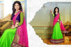I like the color combo, borders and neon green especially. I would like more design on the skirt though. Half Saree, Sari, Style, Fashion, Saree, Swag, Moda, Fashion Styles, Langa Voni