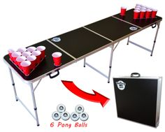 8 foot long beer pong table that folds up into a briefcase for easy transport