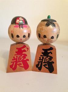 Antique Japanese Wood Kokeshi Dolls