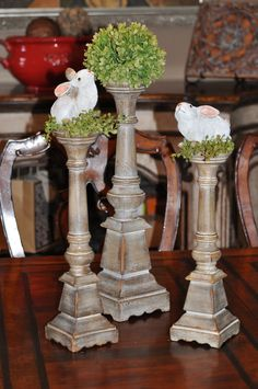 It's not too late-get these 1895 Pillar Candlesticks (set of 3) for only $38.49-regular price $109.99 for our host special.  Have your own party or book party be 1/31 and get this fantastic product for a great deal!  I'm loving my cute bunnies and puff ball that I got at Charisma.