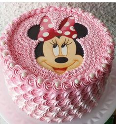 Minnie Mouse Birthday Cakes, Birthday Wishes Cake, Birthday Cake Girls, Frozen Birthday, Bolo Minnie, Mickey Mouse Cake, Minnie Mouse Cake, Cake Designs For Kids, Shower Cakes