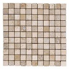 Travertine Noce White Mosaic 25x25mm