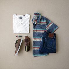 Men's Casual Summer Fashion, button down, henley, denim & sneakers Sneakers Outfit Men, Denim Sneakers, Stylish Men, Men Casual, Dressing, Mens Fashion, Fashion Outfits, Boy Outfits, Street Style Summer