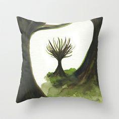 Emerald Tree Throw Pillow by Marina Kanavaki - $20.00