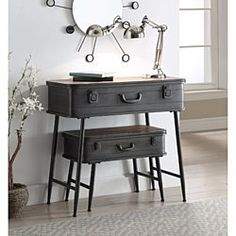 Urban Loft Metal 2 Trunk Tables - Concepts uniquely designed 2 piece trunk tables are perfect storage solution for almost any room in the home. This delightful piece is fashioned with such regal details as decorative pull handle and trunk sty Industrial Interior Design, Vintage Industrial Furniture, Repurposed Furniture, Painted Furniture, Industrial Living, Industrial Closet, Industrial Cafe, Industrial Windows, Industrial Restaurant