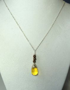 Handcrafted Jewelry  - Lemon Quartz Chocolate Pearl Sterling Silver Necklace , $45.00 (http://www.juditgems.com/lemon-quartz-chocolate-pearl-sterling-silver-necklace/)