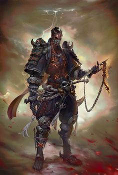 """Originally called """"Assassin"""". Assassins don't wear full plate even just the shoulders. Maybe a bounty hunter. Probably some sorta magic using warrior, hence the attached dagger for blood sacrificing maybe?"""