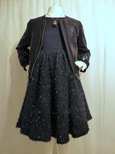 Cool navy blue sequin bomber jacket and lace dress for Monsoon kids party fashion fall 2014