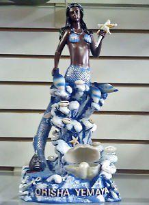 $62 13 Inch Statue Orisha Yemaya as Mermaid w/ Dolphins Blue Diosa del Mar Figurine
